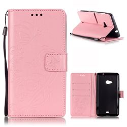 Embossing Butterfly Flower Leather Wallet Case for Microsoft Lumia 535 / Lumia 535 Dual SIM Nokia Lumia 535 - Pink
