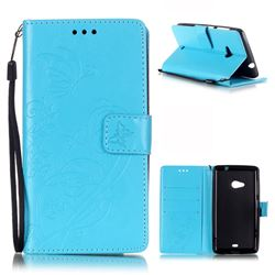 Embossing Butterfly Flower Leather Wallet Case for Microsoft Lumia 535 / Lumia 535 Dual SIM Nokia Lumia 535 - Blue
