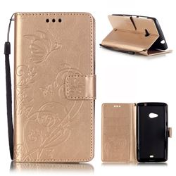 Embossing Butterfly Flower Leather Wallet Case for Microsoft Lumia 535 / Lumia 535 Dual SIM Nokia Lumia 535 - Champagne