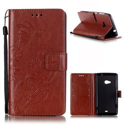 Embossing Butterfly Flower Leather Wallet Case for Microsoft Lumia 535 / Lumia 535 Dual SIM Nokia Lumia 535 - Brown