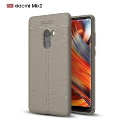 Luxury Auto Focus Litchi Texture Silicone TPU Back Cover for Xiaomi Mi Mix 2 - Gray