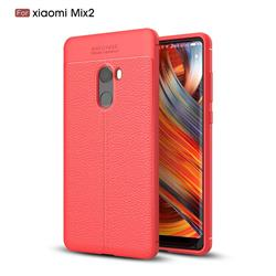 Luxury Auto Focus Litchi Texture Silicone TPU Back Cover for Xiaomi Mi Mix 2 - Red