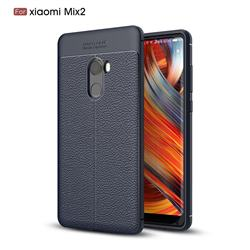 Luxury Auto Focus Litchi Texture Silicone TPU Back Cover for Xiaomi Mi Mix 2 - Dark Blue