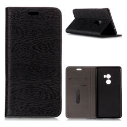 Tree Bark Pattern Automatic suction Leather Wallet Case for Xiaomi Mi Mix 2 - Black
