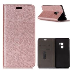 Tree Bark Pattern Automatic suction Leather Wallet Case for Xiaomi Mi Mix 2 - Rose Gold