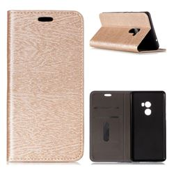 Tree Bark Pattern Automatic suction Leather Wallet Case for Xiaomi Mi Mix 2 - Champagne Gold
