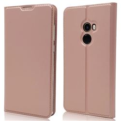 Ultra Slim Card Magnetic Automatic Suction Leather Wallet Case for Xiaomi Mi Mix 2 - Rose Gold