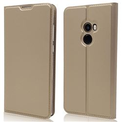 Ultra Slim Card Magnetic Automatic Suction Leather Wallet Case for Xiaomi Mi Mix 2 - Champagne