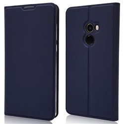 Ultra Slim Card Magnetic Automatic Suction Leather Wallet Case for Xiaomi Mi Mix 2 - Royal Blue