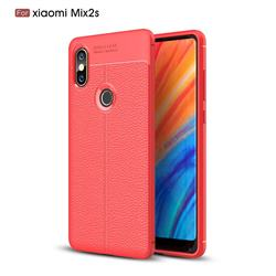 Luxury Auto Focus Litchi Texture Silicone TPU Back Cover for Xiaomi Mi Mix 2S - Red