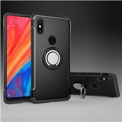 Armor Anti Drop Carbon PC + Silicon Invisible Ring Holder Phone Case for Xiaomi Mi Mix 2S - Black