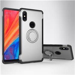 Armor Anti Drop Carbon PC + Silicon Invisible Ring Holder Phone Case for Xiaomi Mi Mix 2S - Silver