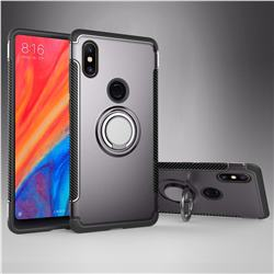 Armor Anti Drop Carbon PC + Silicon Invisible Ring Holder Phone Case for Xiaomi Mi Mix 2S - Grey