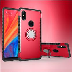 Armor Anti Drop Carbon PC + Silicon Invisible Ring Holder Phone Case for Xiaomi Mi Mix 2S - Red