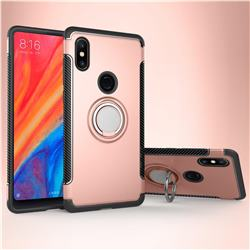 Armor Anti Drop Carbon PC + Silicon Invisible Ring Holder Phone Case for Xiaomi Mi Mix 2S - Rose Gold