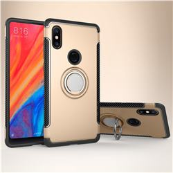 Armor Anti Drop Carbon PC + Silicon Invisible Ring Holder Phone Case for Xiaomi Mi Mix 2S - Champagne