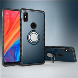 Armor Anti Drop Carbon PC + Silicon Invisible Ring Holder Phone Case for Xiaomi Mi Mix 2S - Navy