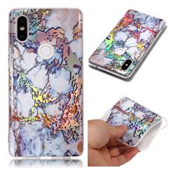 Gold Plating Marble Pattern Bright Color Laser Soft TPU Case for Xiaomi Mi Mix 2S
