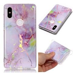 Pink Purple Marble Pattern Bright Color Laser Soft TPU Case for Xiaomi Mi Mix 2S