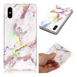 White Marble Pattern Bright Color Laser Soft TPU Case for Xiaomi Mi Mix 2S
