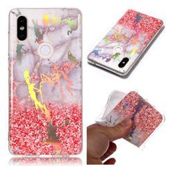 Powder Sandstone Marble Pattern Bright Color Laser Soft TPU Case for Xiaomi Mi Mix 2S
