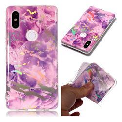 Purple Marble Pattern Bright Color Laser Soft TPU Case for Xiaomi Mi Mix 2S