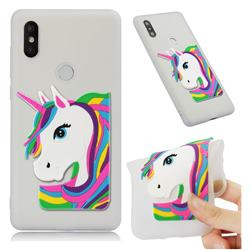 Rainbow Unicorn Soft 3D Silicone Case for Xiaomi Mi Mix 2S - Translucent White