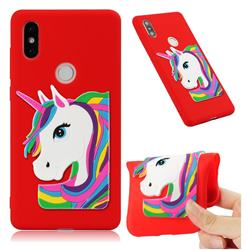 Rainbow Unicorn Soft 3D Silicone Case for Xiaomi Mi Mix 2S - Red