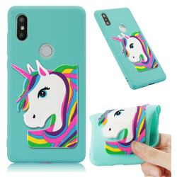Rainbow Unicorn Soft 3D Silicone Case for Xiaomi Mi Mix 2S - Sky Blue