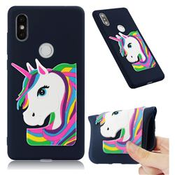Rainbow Unicorn Soft 3D Silicone Case for Xiaomi Mi Mix 2S - Navy