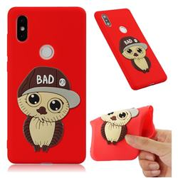 Bad Boy Owl Soft 3D Silicone Case for Xiaomi Mi Mix 2S - Red