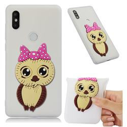 Bowknot Girl Owl Soft 3D Silicone Case for Xiaomi Mi Mix 2S - Translucent White