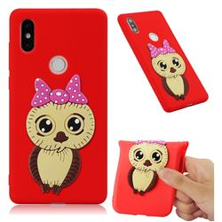 Bowknot Girl Owl Soft 3D Silicone Case for Xiaomi Mi Mix 2S - Red
