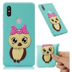 Bowknot Girl Owl Soft 3D Silicone Case for Xiaomi Mi Mix 2S - Sky Blue