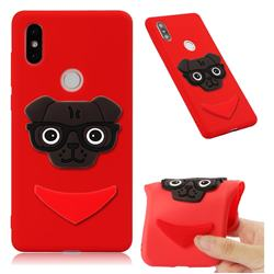 Glasses Dog Soft 3D Silicone Case for Xiaomi Mi Mix 2S - Red