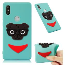 Glasses Dog Soft 3D Silicone Case for Xiaomi Mi Mix 2S - Sky Blue