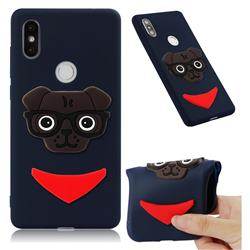 Glasses Dog Soft 3D Silicone Case for Xiaomi Mi Mix 2S - Navy
