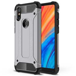 King Kong Armor Premium Shockproof Dual Layer Rugged Hard Cover for Xiaomi Mi Mix 2S - Silver Grey