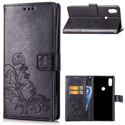 Embossing Imprint Four-Leaf Clover Leather Wallet Case for Xiaomi Mi Mix 2S - Black