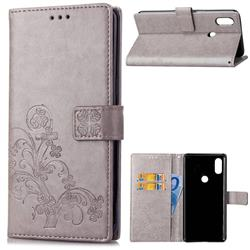 Embossing Imprint Four-Leaf Clover Leather Wallet Case for Xiaomi Mi Mix 2S - Grey