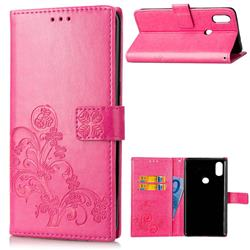 Embossing Imprint Four-Leaf Clover Leather Wallet Case for Xiaomi Mi Mix 2S - Rose