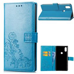 Embossing Imprint Four-Leaf Clover Leather Wallet Case for Xiaomi Mi Mix 2S - Blue