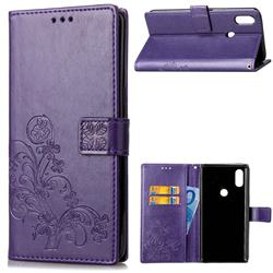 Embossing Imprint Four-Leaf Clover Leather Wallet Case for Xiaomi Mi Mix 2S - Purple