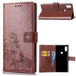 Embossing Imprint Four-Leaf Clover Leather Wallet Case for Xiaomi Mi Mix 2S - Brown