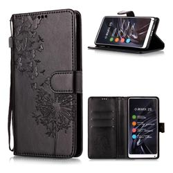 Intricate Embossing Dandelion Butterfly Leather Wallet Case for Xiaomi Mi Mix 2S - Black