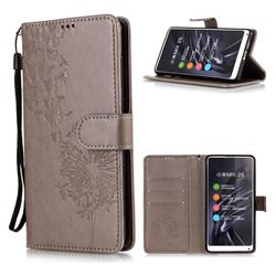 Intricate Embossing Dandelion Butterfly Leather Wallet Case for Xiaomi Mi Mix 2S - Gray