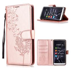 Intricate Embossing Dandelion Butterfly Leather Wallet Case for Xiaomi Mi Mix 2S - Rose Gold