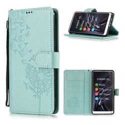 Intricate Embossing Dandelion Butterfly Leather Wallet Case for Xiaomi Mi Mix 2S - Green