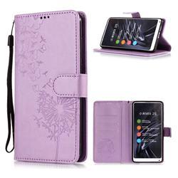 Intricate Embossing Dandelion Butterfly Leather Wallet Case for Xiaomi Mi Mix 2S - Purple
