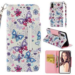 Colored Butterfly Big Metal Buckle PU Leather Wallet Phone Case for Xiaomi Mi Mix 2S